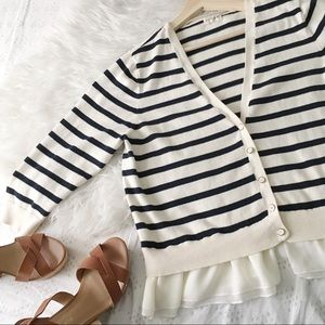 Cream and Navy Blue Stripe Cardigan With Trim